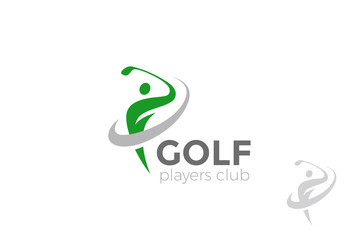 Golf player hits ball Logo design vector Golf club Logotype icon