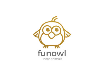 Funny Owl abstract Logo design vector template Linear style