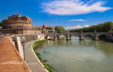 The famous St.Angelo Bridge and Castle , Rome, Italy