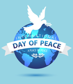 World Peace Day,White Dove Bird Fly In Sky Flat.Vector Illustration