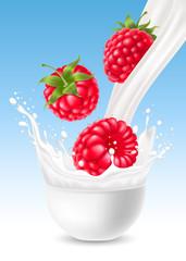 Milk splash with raspberry
