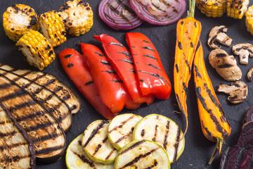 Grilled vegetables background