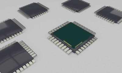 CPU TEAMWORK concept, 3d