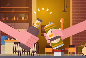 Hands Clinking Beer People In Pub Or Bar Restaurant Cheering Party Celebration Festival Concept Flat Vector Illustration