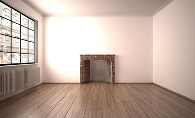 Leeres helles Zimmer mit Kamin