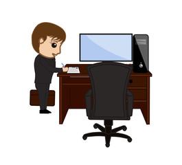 Cartoon Female Employee Resigning Letter
