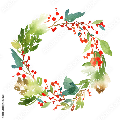 Christmas Wreath Images Free.Christmas Wreath With Berries Watercolor Postcard Stock