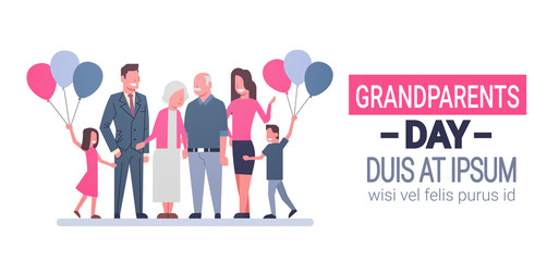 Happy Grandparents Day Greeting Card Banner Big Family Together Vector Illustration