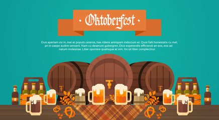 Oktoberfest Beer Festival Banner Wooden Barrel With Glass Mugs Holiday Decoration Poster Flat Vector Illustration