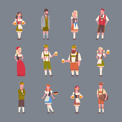 People Wearing German Traditional Clothes Set Of Icons Of Man And Woman Holding Beer Mugs Oktoberfest Party Concept Flat Vector Illustration