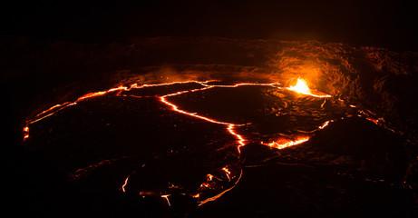 Erta Ale vulcano lava crater lake in remote Ethiopia