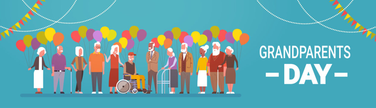 Happy Grandparents Day Greeting Card Banner Mix Race Group Of Senior People Celebration Vector Illustration