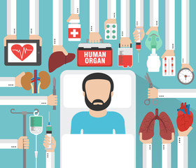 Human organ for transplantation design flat with patient .Vector illustration