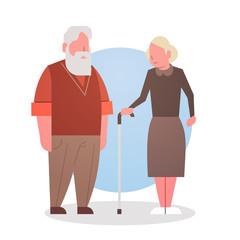 Senior Man And Woman Couple Grandmother And Grandfathr Gray Hair Icon Full Length Flat Vector Illustration