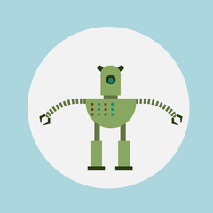 Wall Mural - Modern Robot Icon Cartoon, Futuristic Artificial Intelligence Mechanism Technology Flat Vector Illustration