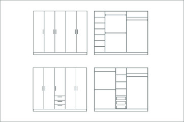 Wardrobe design collection isolated on white background. Vector. Furniture design.