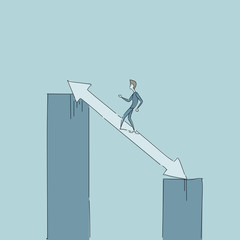 Businessman Walking On Chart Bar On Arrow Up Growth Development Concept Vector Illustration
