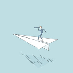 Businessman Flying On Paper Plane Looking Through Binocular On Successful Future Growth Development Concept Vector Illustration
