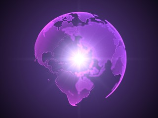 dot style purple hologram of earth continents, 3d illustration