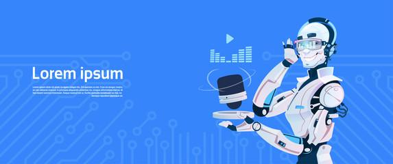 Modern Robot Listen Music Radio, Futuristic Artificial Intelligence Mechanism Technology Flat Vector Illustration