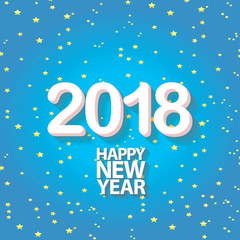 2018 Happy new year creative design blue greeting card