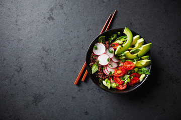 Red Quinoa Poke Bowl with Avocado, Radish and Tomatoes