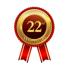 22 years anniversary golden badge with red ribbons isolated on white background, vector design for greeting card, banner and invitation card.