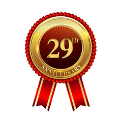 29 years anniversary golden badge with red ribbons isolated on white background, vector design for greeting card, banner and invitation card.
