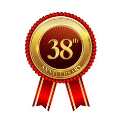 38 years anniversary golden badge with red ribbons isolated on white background, vector design for greeting card, banner and invitation card.