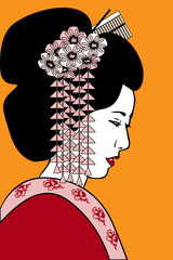 geisha with floral decoration in a hairstyle and a red kimono on an orange background