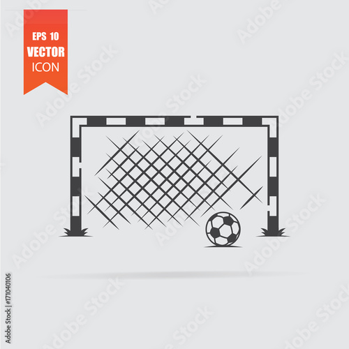 soccer goal icon in flat style isolated on grey background stock