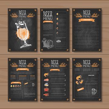 Beer Menu Set Design For Restaurant Cafe Pub Chalked On Wooden Textured Background Vector Illustration