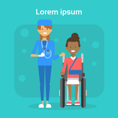 Medical Doctor With Young Woman On Wheel Chair Happy African American Female Disabled Smiling Sit On Wheelchair Disability Concept Flat Vector Illustration