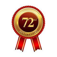 72 years anniversary golden badge with red ribbons isolated on white background, vector design for greeting card, banner and invitation card.