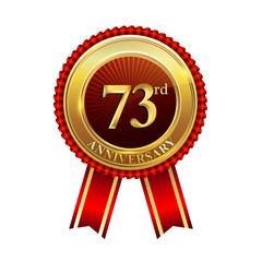 73 years anniversary golden badge with red ribbons isolated on white background, vector design for greeting card, banner and invitation card.