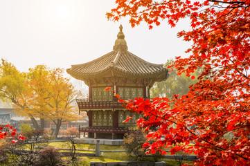 Autumn in Gyeongbokgung Palace, Seoul in South Korea.