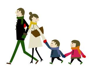 冬服の親子 家族のイメージ
