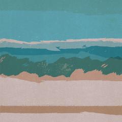 Beach waves vintage style illustration