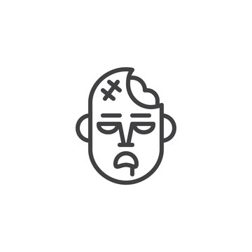 Zombie mask line icon, outline vector sign, linear style pictogram isolated on white. Halloween holiday Symbol, logo illustration. Editable stroke.