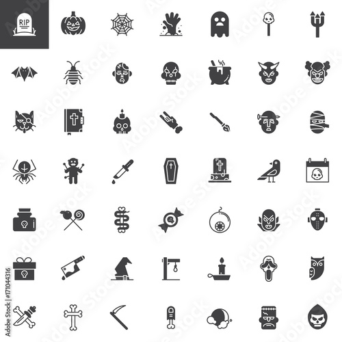Halloween Vector Icons Set Modern Solid Symbol Collection Filled