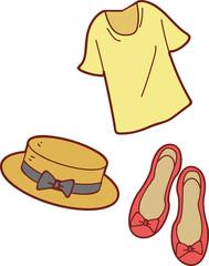 ファッション小物のイラスト(シャツ・帽子・靴)