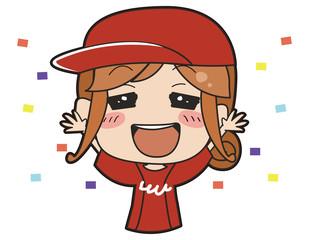 赤いユニフォームを着た女の子のイラスト