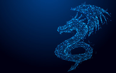 Wireframe dragon mesh from a starry on blue background