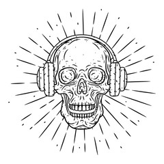 Hand drawn vector illustration Skull with headphones and divergent rays. Cartoon skull