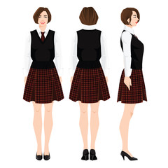 Vector illustration of young girl  in school or academy uniform and shoes on flat heel on white background. Formal skirt with tartan pattern. Various turns woman's figure. Front view and back view.