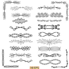 Decorative borders, dividers, swirls, dividing, scrolls. Set of graphical, elements. Borders and corners in black color for web design. Swirls ornament vector page dividers.