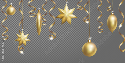 christmas seamless border banner template ball fir toys star golden silver sparkle serpentine streamer