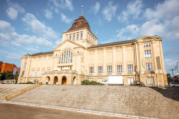 Morning view on the old national museum of Szczecin city in Poland