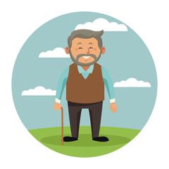 Cute grandparent cartoon icon vector illustration graphic design