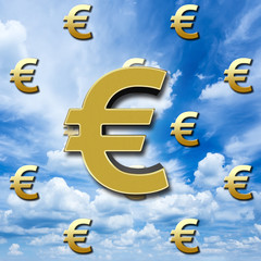3D, Bright shiny golden European currency symbol, against a sky blue, white clouded sky.